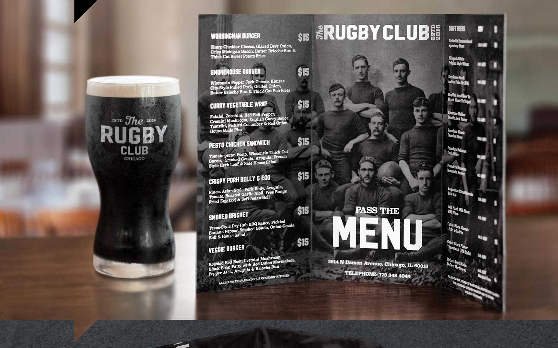 Rugby Club - Glass and Menu